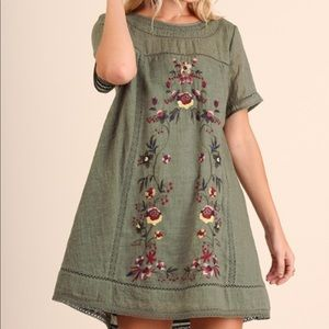 Umgee Embroidered Tunic Dress Olive Large